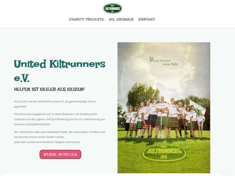 Screenshot Internetseite Verein United Kiltrunners